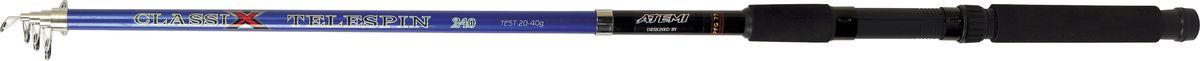 Удилище спиннинговое телескопическое Atemi Classix Telespin, с неопреновой ручкой, 4,5 м, 30-60 гPGPS7797CIS08GBNVСпиннинговое удилище Atemi Classix Telespin предназначено для ловли в кустах или по заросшим берегам, благодаря своей длине, позволяет сделать точные забросы на необходимую дистанцию, а универсальный тест дает возможность использовать широкий спектр приманок. Изделие выполнено из высококачественного стеклопластика. Неопреновая ручка приятна на ощупь, не скользит в руках.