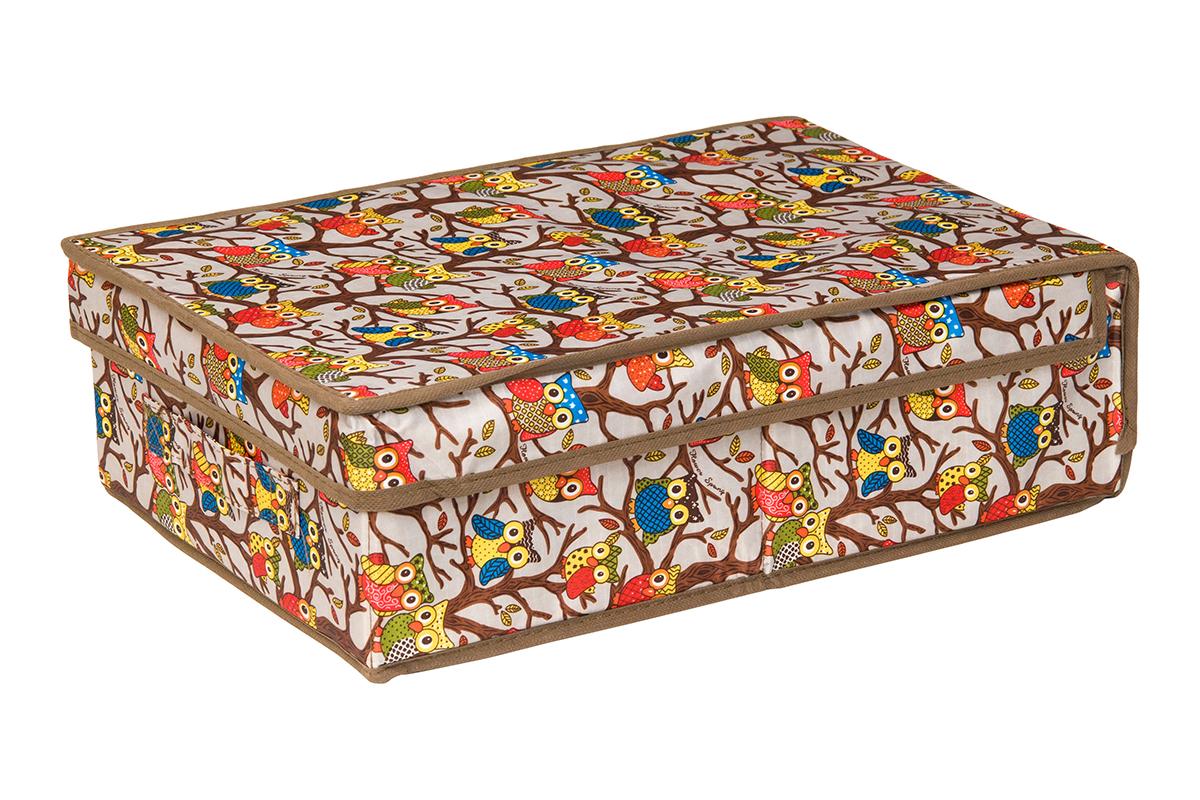 Кофр для хранения EL Casa Совы на ветках, цвет: серебристый, 27 х 41 х 12 смS03301004Кофр для хранения EL Casa Совы на ветках выполнен из полиэстера, который обеспечивает естественную вентиляцию, отлично пропускает воздух, но не пропускает пыль. Благодаря специальным вставкам из картона кофр прекрасно держит форму. Изделие имеет оригинальный дизайн с красочным изображением забавных сов. Сбоку расположена ручка.Кофр подходит для хранения вещей, аксессуаров, книг, бумаг, лекарств, CD/DVD дисков. Легко складывается и раскладывается. Он поможет хранить вещи компактно и удобно. Подходит для размещения в шкафу, комоде.