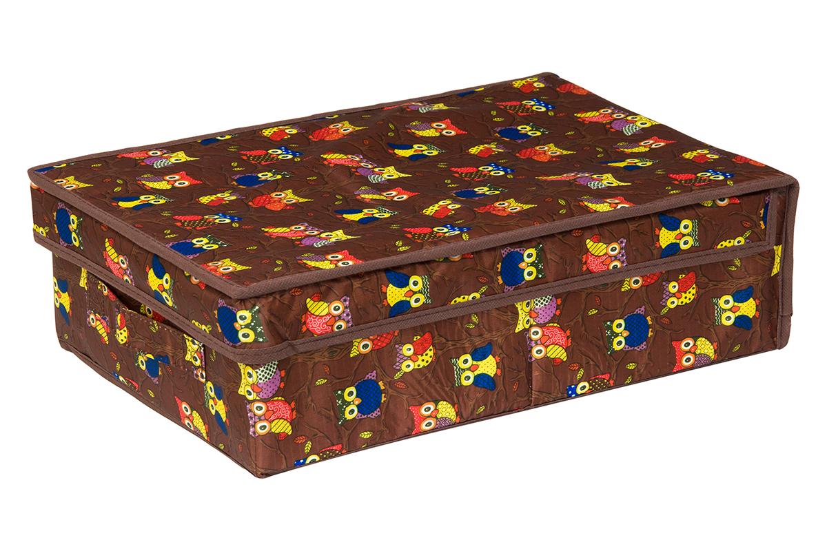 Кофр для хранения EL Casa Совы на ветках, цвет: коричневый, 27 х 41 х 12 см1004900000360Кофр для хранения EL Casa Совы на ветках выполнен из полиэстера, который обеспечивает естественную вентиляцию, отлично пропускает воздух, но не пропускает пыль. Благодаря специальным вставкам из картона кофр прекрасно держит форму. Изделие имеет оригинальный дизайн с красочным изображением забавных сов. Сбоку расположена ручка. Кофр подходит для хранения вещей, аксессуаров, книг, бумаг, лекарств, CD/DVD дисков. Легко складывается и раскладывается. Он поможет хранить вещи компактно и удобно. Подходит для размещения в шкафу, комоде.
