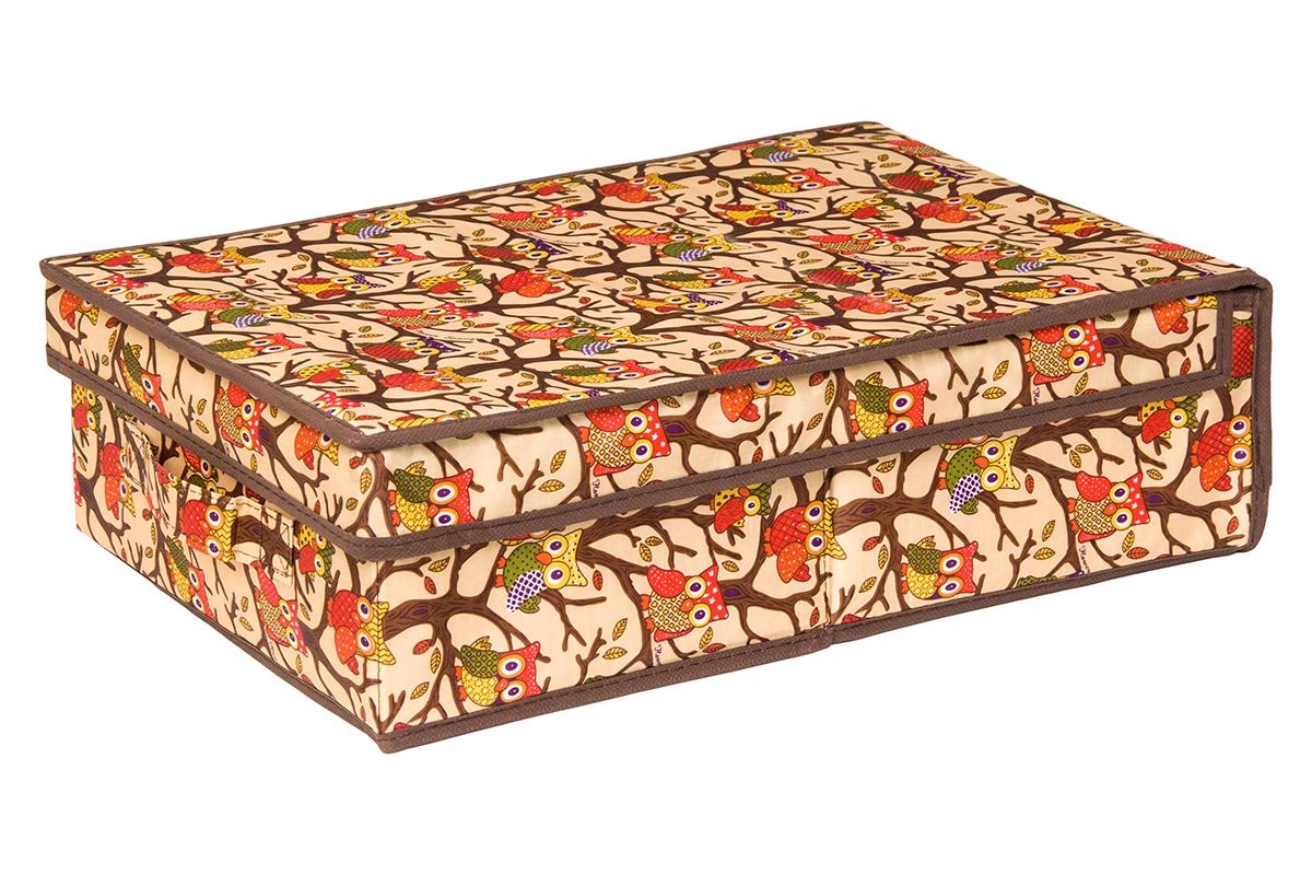 Кофр для хранения EL Casa Совы на ветках, цвет: бежевый, 27 х 41 х 12 см1004900000360Кофр для хранения EL Casa Совы на ветках выполнен из полиэстера, который обеспечивает естественную вентиляцию, отлично пропускает воздух, но не пропускает пыль. Благодаря специальным вставкам из картона кофр прекрасно держит форму. Изделие имеет оригинальный дизайн с красочным изображением забавных сов. Сбоку расположена ручка.Кофр подходит для хранения вещей, аксессуаров, книг, бумаг, лекарств, CD/DVD дисков. Легко складывается и раскладывается. Он поможет хранить вещи компактно и удобно. Подходит для размещения в шкафу, комоде.