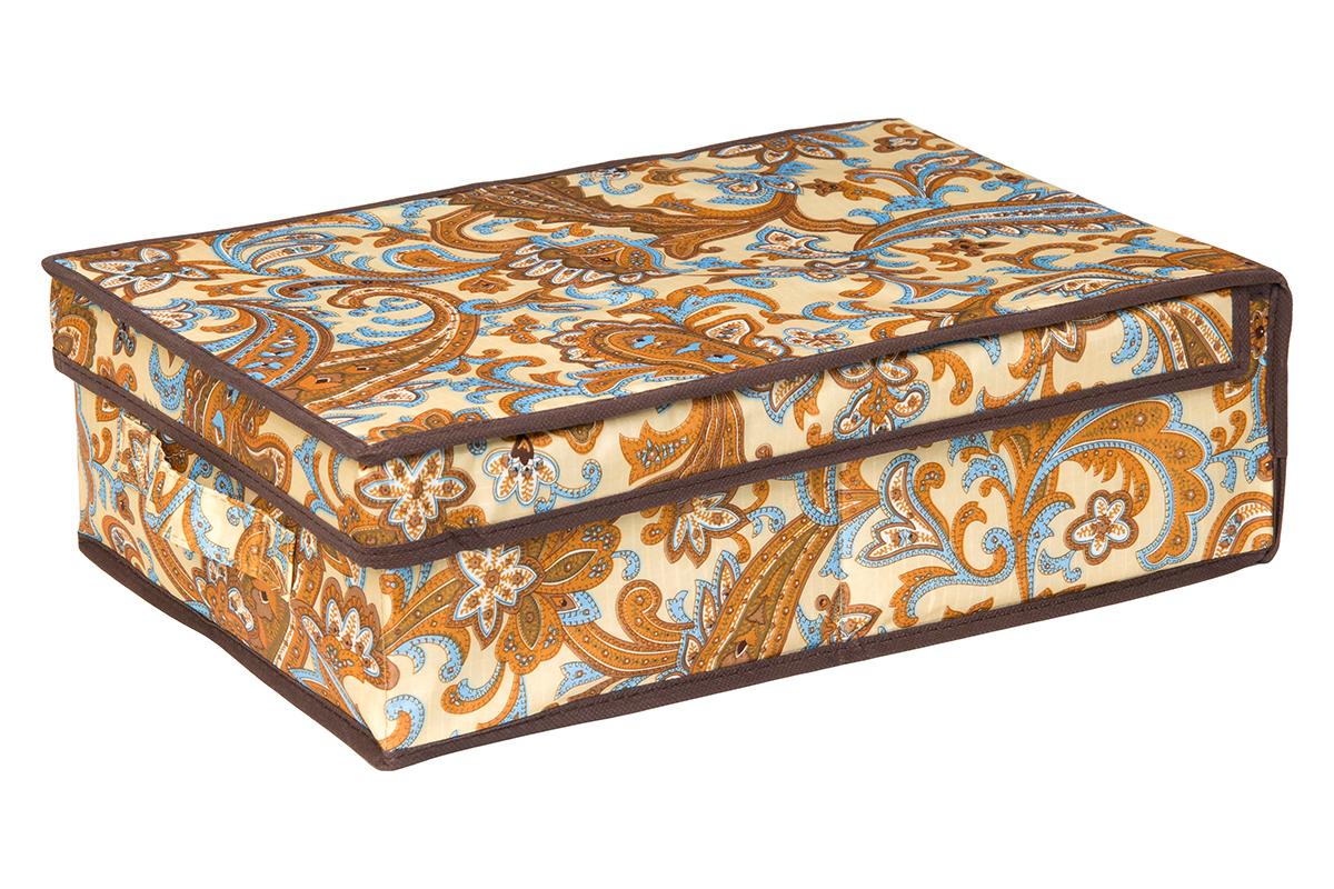 Кофр для хранения EL Casa Перо павлина, цвет: бежевый, 27 х 41 х 12 см1004900000360Кофр для хранения EL Casa Перо павлина выполнен из полиэстера, который обеспечивает естественную вентиляцию, отлично пропускает воздух, но не пропускает пыль. Благодаря специальным вставкам из картона кофр прекрасно держит форму. Изделие декорировано красочным узором и имеет оригинальный дизайн. Сбоку расположена ручка.Кофр подходит для хранения вещей, аксессуаров, книг, бумаг, лекарств, CD/DVD дисков. Легко складывается и раскладывается. Он поможет хранить вещи компактно и удобно. Подходит для размещения в шкафу, комоде.