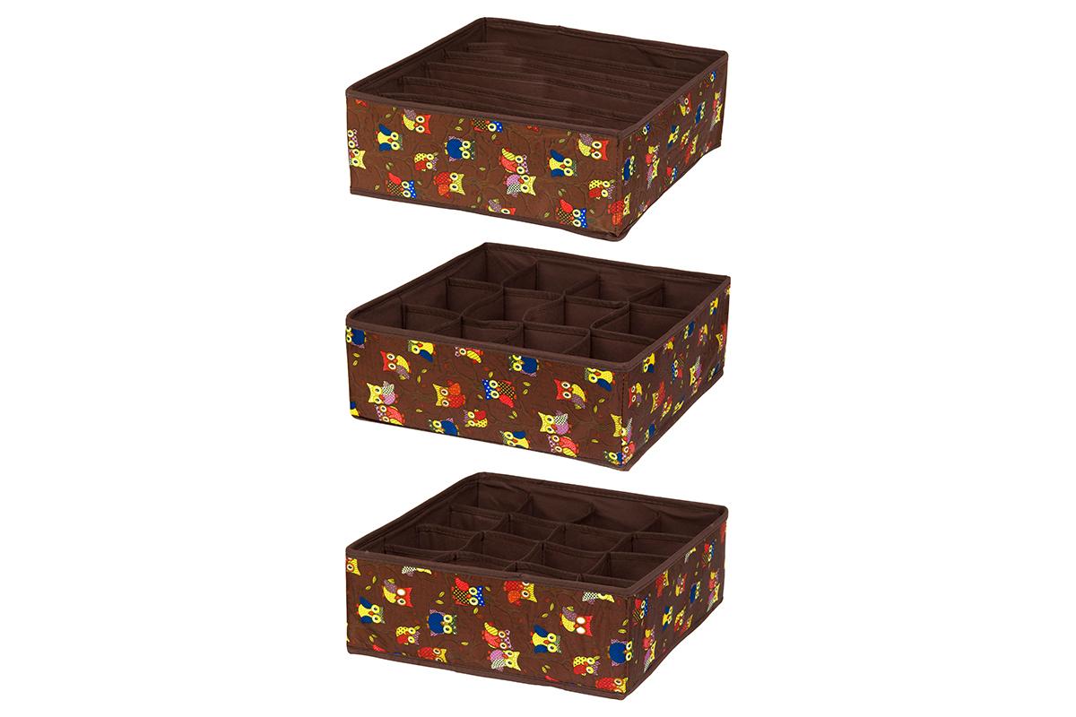 Набор кофров для хранения EL Casa Совы на ветках, цвет: коричневый, 32 х 32 х 12 см, 3 штRG-D31SНабор EL Casa Совы на ветках состоит из трех кофров для хранения. Кофры выполнены из полиэстера, который обеспечивает естественную вентиляцию, отлично пропускает воздух, но не пропускает пыль. Благодаря специальным вставкам из картона кофры прекрасно держат форму. Все кофры содержат разное количество секций. Первый кофр содержит 16 секций для хранения носков и трусов, второй - 12 секций, а третий - 6 продолговатых секций, которые идеальны для бюстгальтеров. Для удобства использования кофры не имеют крышки. Изделия имеют оригинальный дизайн с красочным изображением забавных сов. Легко складываются и раскладываются. Они помогут хранить вещи компактно и удобно. Подходят для размещения в шкафу, комоде.