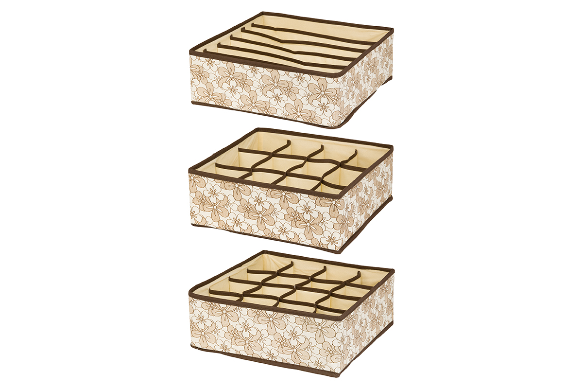 Набор кофров для хранения EL Casa Цветочное изобилие, 32 х 32 х 12 см, 3 шт16050Набор EL Casa Цветочное изобилие состоит из трех кофров для хранения. Кофры выполнены из качественного полиэстера, который обеспечивает естественную вентиляцию, отлично пропускает воздух, но не пропускает пыль. Благодаря специальным вставкам из картона кофры прекрасно держат форму. Все кофры содержат разное количество секций. Первый кофр содержит 16 секций для хранения носков и трусов, второй - 12 секций, а третий - 6 продолговатых секций, которые идеальны для бюстгальтеров. Для удобства использования кофры не имеют крышки. Изделия декорированы оригинальным рисунком. Кофры легко складываются и раскладываются. Они помогут хранить вещи компактно и удобно. Подходят для размещения в шкафу, комоде.