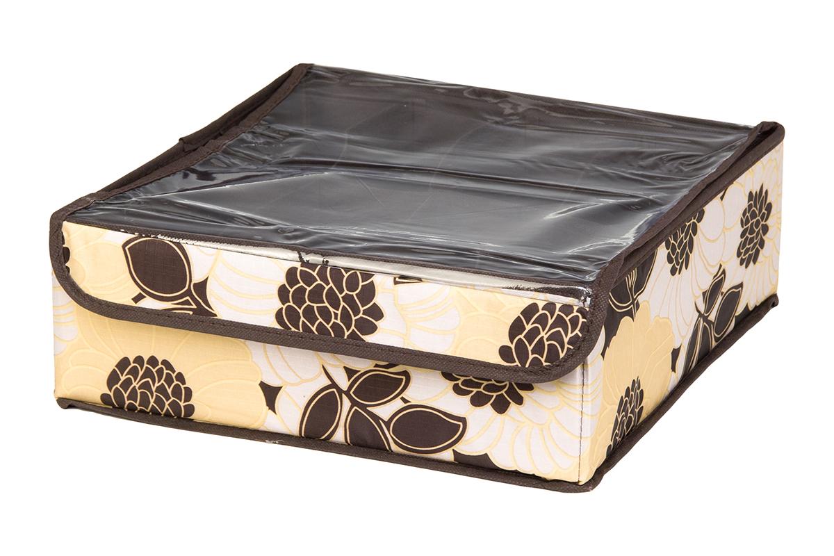 Кофр для хранения EL Casa Цветочная фантазия, 8 секций, 32 х 32 х 12 смRG-D31SКофр для хранения EL Casa Цветочная фантазия выполнен из качественного полиэстера, который обеспечивает естественную вентиляцию, отлично пропускает воздух, но не пропускает пыль. Вставки из плотного картона хорошо держат форму. Изделие декорировано красивым цветочным рисунком и имеет оригинальный дизайн. Кофр с 8 секциями подходит для хранения нижнего белья, колготок, носков и другой одежды. Прозрачная крышка на липучке, выполненная из ПВХ, позволяет видеть содержимое кофра, не открывая его. Изделие поможет хранить вещи компактно и удобно. Подходит для размещения в шкафу, комоде.