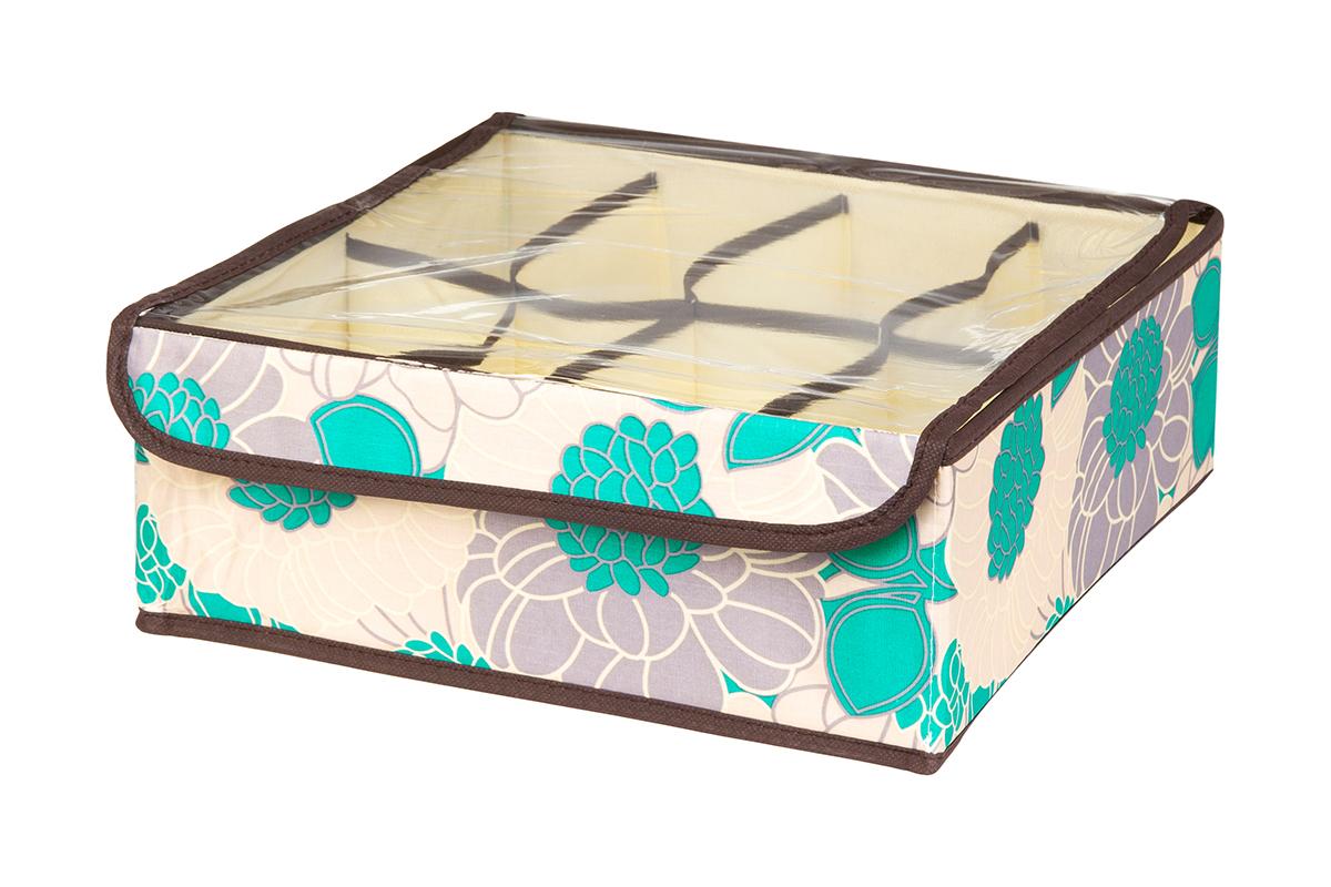 Кофр для хранения EL Casa Цветочное поле, 8 секций, 32 х 32 х 12 смRG-D31SКофр для хранения EL Casa Цветочное поле выполнен из качественного полиэстера, который обеспечивает естественную вентиляцию, отлично пропускает воздух, но не пропускает пыль. Вставки из плотного картона хорошо держат форму. Изделие декорировано красивым цветочным рисунком и имеет оригинальный дизайн. Кофр с 8 секциями подходит для хранения нижнего белья, колготок, носков и другой одежды. Прозрачная крышка на липучке, выполненная из ПВХ, позволяет видеть содержимое кофра, не открывая его. Изделие поможет хранить вещи компактно и удобно. Подходит для размещения в шкафу, комоде.