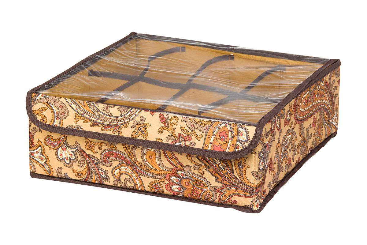 Кофр для хранения EL Casa Перо павлина, цвет: коричневый, 8 секций, 32 х 32 х 12 см74-0120Кофр для хранения EL Casa Перо павлина выполнен из полиэстера, который обеспечивает естественную вентиляцию, отлично пропускает воздух, но не пропускает пыль. Вставки из плотного картона хорошо держат форму. Изделие декорировано красочным узором и имеет оригинальный дизайн. Кофр с 8 секциями подходит для хранения нижнего белья, колготок, носков и другой одежды. Прозрачная крышка на липучке, выполненная из ПВХ, позволяет видеть содержимое кофра, не открывая его. Изделие поможет хранить вещи компактно и удобно. Подходит для размещения в шкафу, комоде.