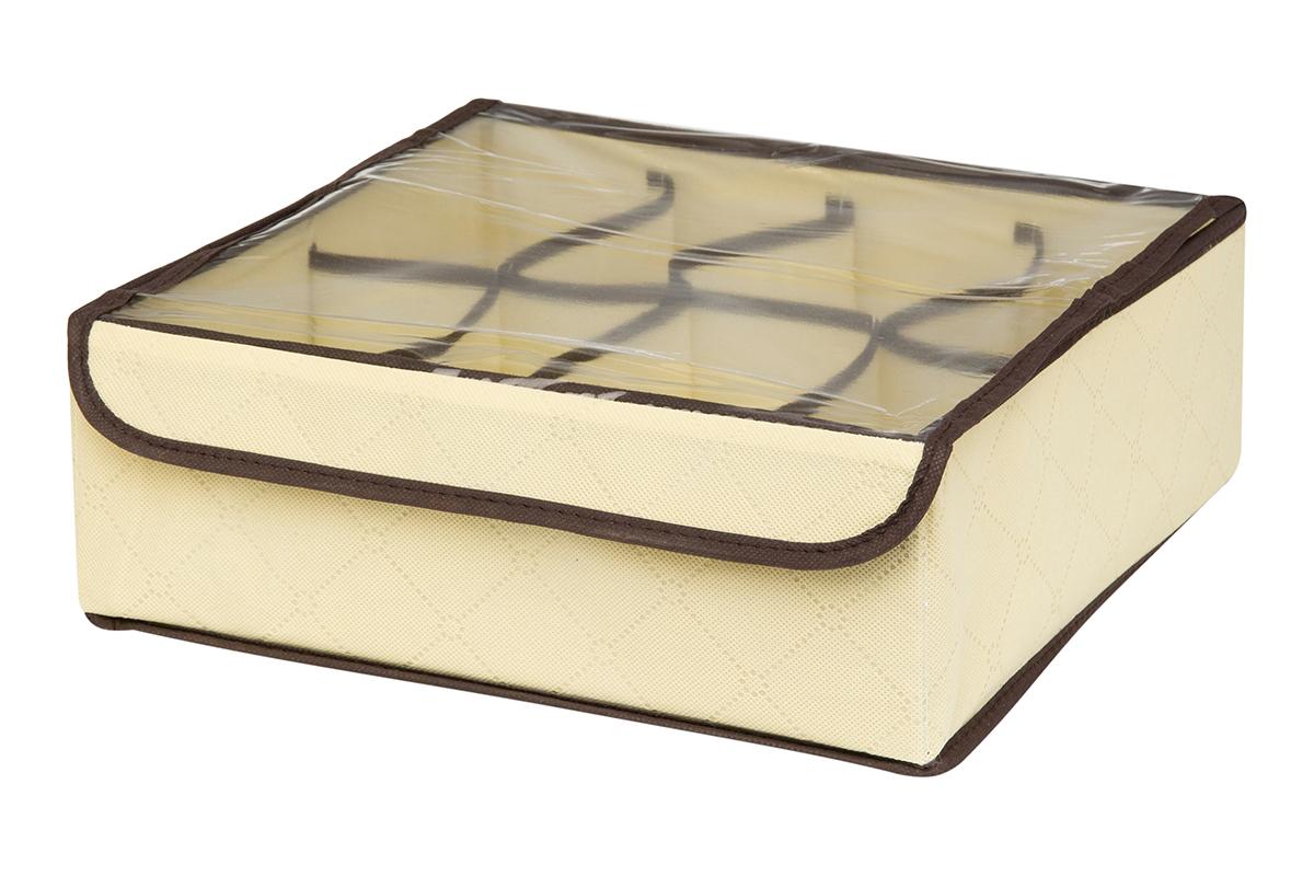 Кофр для хранения EL Casa Геометрия стиля, 8 секций, 32 х 32 х 12 смRG-D31SКофр для хранения EL Casa Геометрия стиля выполнен из качественного нетканого материала, который обеспечивает естественную вентиляцию, отлично пропускает воздух, но не пропускает пыль. Вставки из плотного картона хорошо держат форму. Изделие декорировано геометрическим узором и имеет оригинальный дизайн. Кофр с 8 секциями подходит для хранения нижнего белья, колготок, носков и другой одежды. Прозрачная крышка на липучке, выполненная из ПВХ, позволяет видеть содержимое кофра, не открывая его. Изделие поможет хранить вещи компактно и удобно. Подходит для размещения в шкафу, комоде.