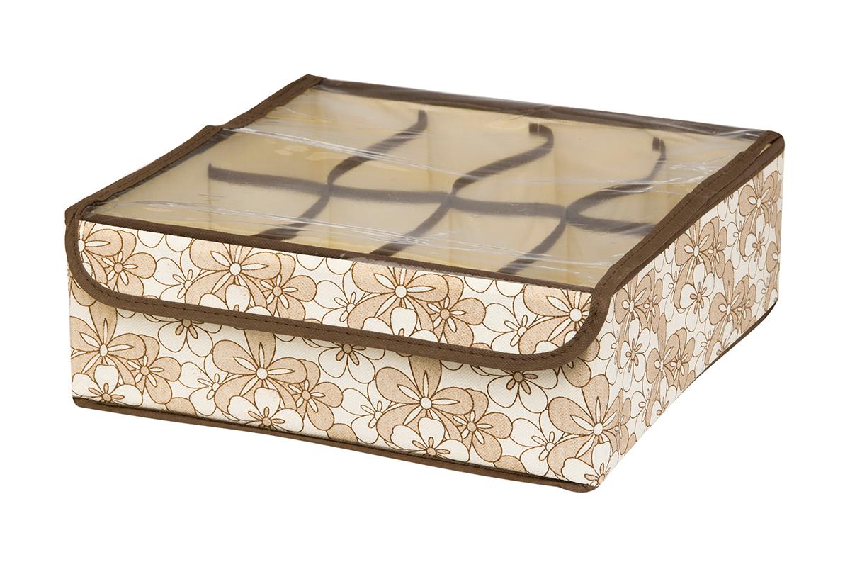 Кофр для хранения EL Casa Цветочное изобилие, 8 секций, 32 х 32 х 12 смRG-D31SКофр для хранения EL Casa Цветочное изобилие выполнен из качественного нетканого материала, который обеспечивает естественную вентиляцию, отлично пропускает воздух, но не пропускает пыль. Вставки из плотного картона хорошо держат форму. Изделие декорировано красивым цветочным рисунком и имеет оригинальный дизайн. Кофр с 8 секциями подходит для хранения нижнего белья, колготок, носков и другой одежды. Прозрачная крышка на липучке, выполненная из ПВХ, позволяет видеть содержимое кофра, не открывая его. Изделие поможет хранить вещи компактно и удобно. Подходит для размещения в шкафу, комоде.