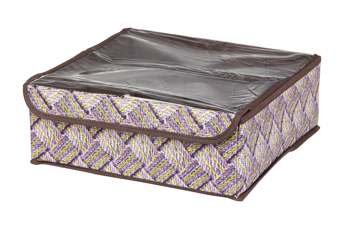Кофр для хранения EL Casa Плетенка, 8 секций, 32 х 32 х 12 смU210DFКофр для хранения EL Casa Плетенка выполнен из качественного нетканого материала, который обеспечивает естественную вентиляцию, отлично пропускает воздух, но не пропускает пыль. Вставки из плотного картона хорошо держат форму. Изделие декорировано плетеным узором и имеет оригинальный дизайн. Кофр с 8 секциями подходит для хранения нижнего белья, колготок, носков и другой одежды. Прозрачная крышка на липучке, выполненная из ПВХ, позволяет видеть содержимое кофра, не открывая его. Изделие поможет хранить вещи компактно и удобно. Подходит для размещения в шкафу, комоде.