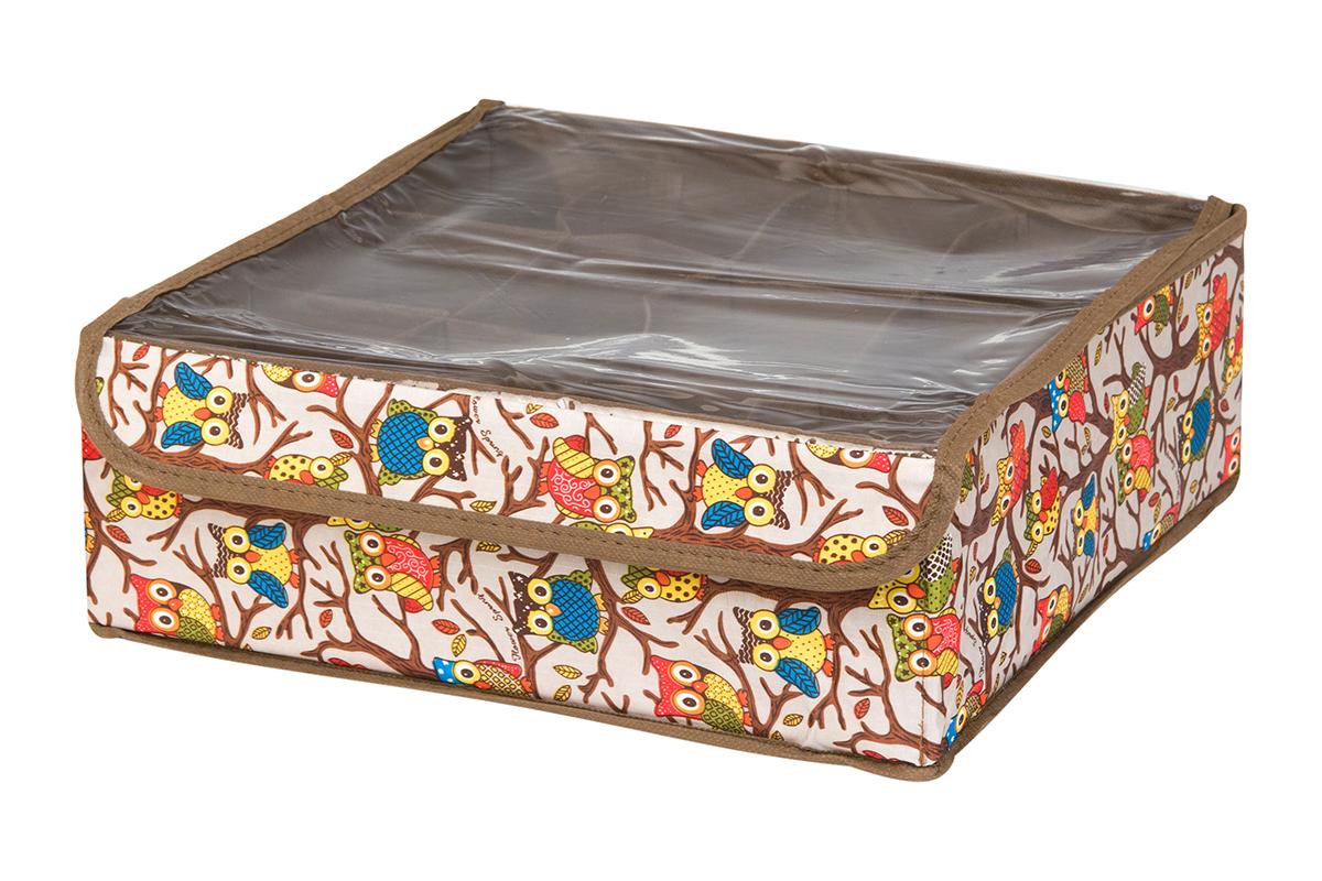 Кофр для хранения EL Casa Совы на ветках, цвет: серебристый, 12 секций, 32 х 32 х 12 смS03301004Кофр для хранения EL Casa Совы на ветках выполнен из полиэстера, который обеспечивает естественную вентиляцию, отлично пропускает воздух, но не пропускает пыль. Вставки из плотного картона хорошо держат форму. Кофр имеет оригинальный дизайн, он декорирован красочным изображением забавных сов. Кофр с 12 секциями подходит для хранения нижнего белья, колготок, носков и другой одежды. Прозрачная крышка на липучке, выполненная из ПВХ, позволяет видеть содержимое кофра, не открывая его. Такой органайзер поможет хранить вещи компактно и удобно. Подходит для размещения в шкафу, комоде.