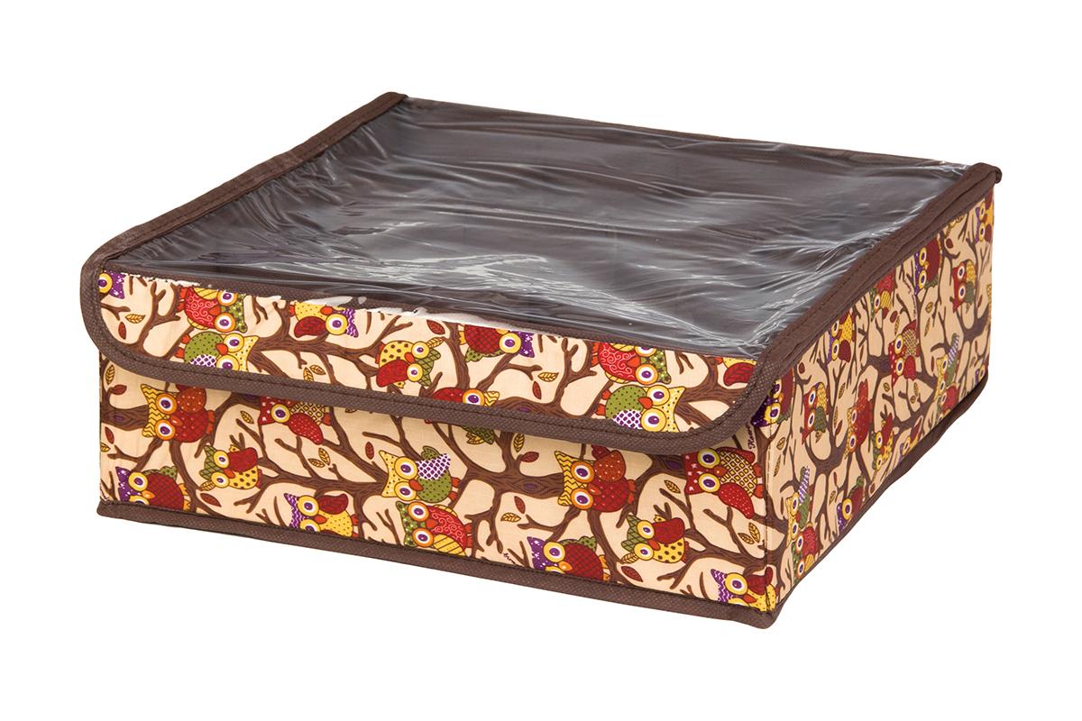 Кофр для хранения EL Casa Совы на ветках, цвет: бежевый, 12 секций, 32 х 32 х 12 смRG-D31SКофр для хранения EL Casa Совы на ветках выполнен из полиэстера, который обеспечивает естественную вентиляцию, отлично пропускает воздух, но не пропускает пыль. Вставки из плотного картона хорошо держат форму. Кофр имеет оригинальный дизайн, он декорирован красочным изображением забавных сов. Кофр с 12 секциями подходит для хранения нижнего белья, колготок, носков и другой одежды. Прозрачная крышка на липучке, выполненная из ПВХ, позволяет видеть содержимое кофра, не открывая его. Такой органайзер поможет хранить вещи компактно и удобно. Подходит для размещения в шкафу, комоде.