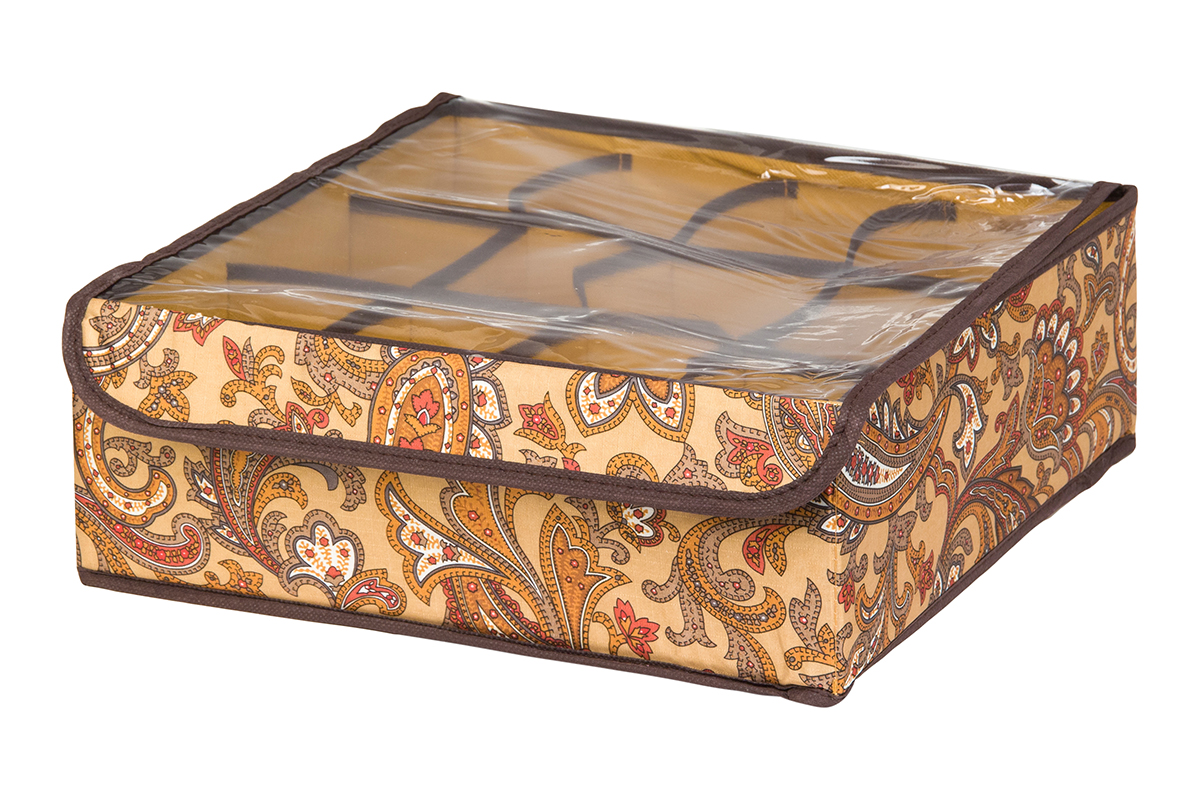 Кофр для хранения EL Casa Перо павлина, цвет: коричневый, 12 секций, 32 х 32 х 12 смRG-D31SКофр для хранения EL Casa Перо павлина выполнен из полиэстера, который обеспечивает естественную вентиляцию, отлично пропускает воздух, но не пропускает пыль. Вставки из плотного картона хорошо держат форму. Изделие декорировано красочным узором и имеет оригинальный дизайн. Кофр с 12 секциями подходит для хранения нижнего белья, колготок, носков и другой одежды. Прозрачная крышка на липучке, выполненная из ПВХ, позволяет видеть содержимое кофра, не открывая его. Изделие поможет хранить вещи компактно и удобно. Подходит для размещения в шкафу, комоде.