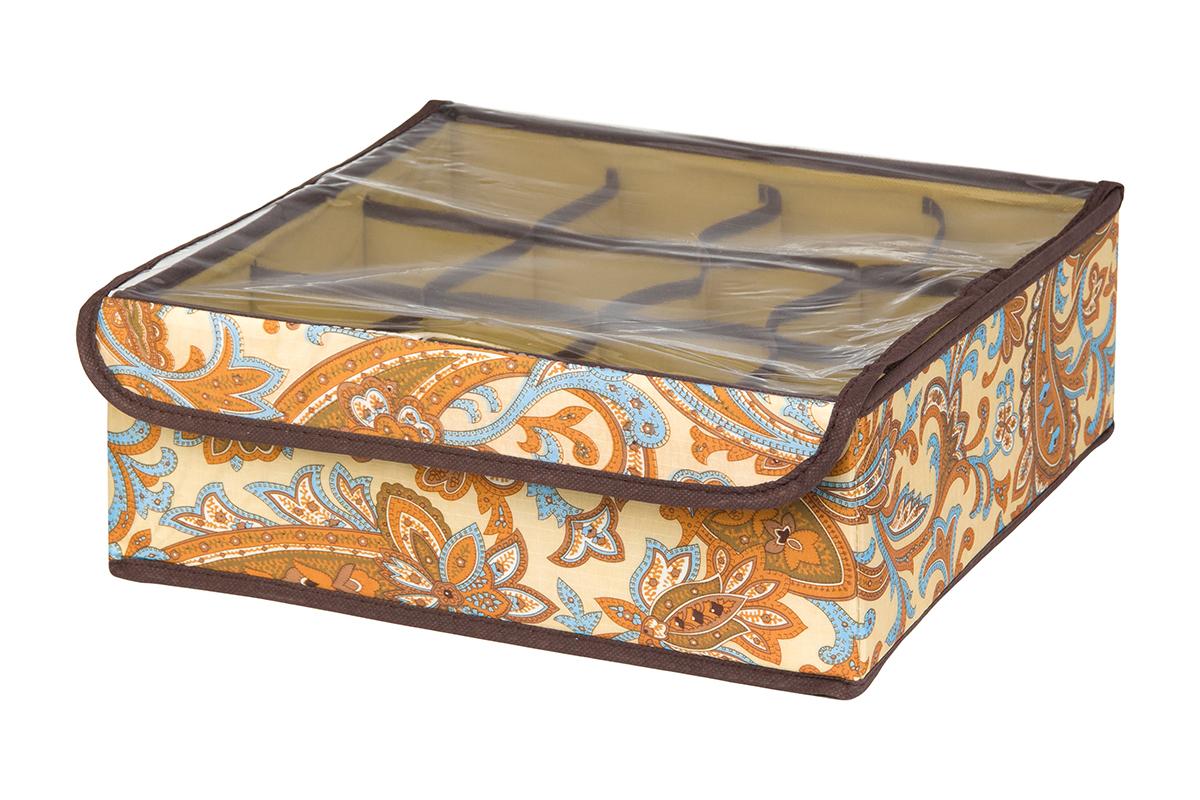 Кофр для хранения EL Casa Перо павлина, цвет: бежевый, 12 секций, 32 х 32 х 12 см10503Кофр для хранения EL Casa Перо павлина выполнен из полиэстера, который обеспечивает естественную вентиляцию, отлично пропускает воздух, но не пропускает пыль. Вставки из плотного картона хорошо держат форму. Изделие декорировано красочным узором и имеет оригинальный дизайн. Кофр с 12 секциями подходит для хранения нижнего белья, колготок, носков и другой одежды. Прозрачная крышка на липучке, выполненная из ПВХ, позволяет видеть содержимое кофра, не открывая его. Изделие поможет хранить вещи компактно и удобно. Подходит для размещения в шкафу, комоде.