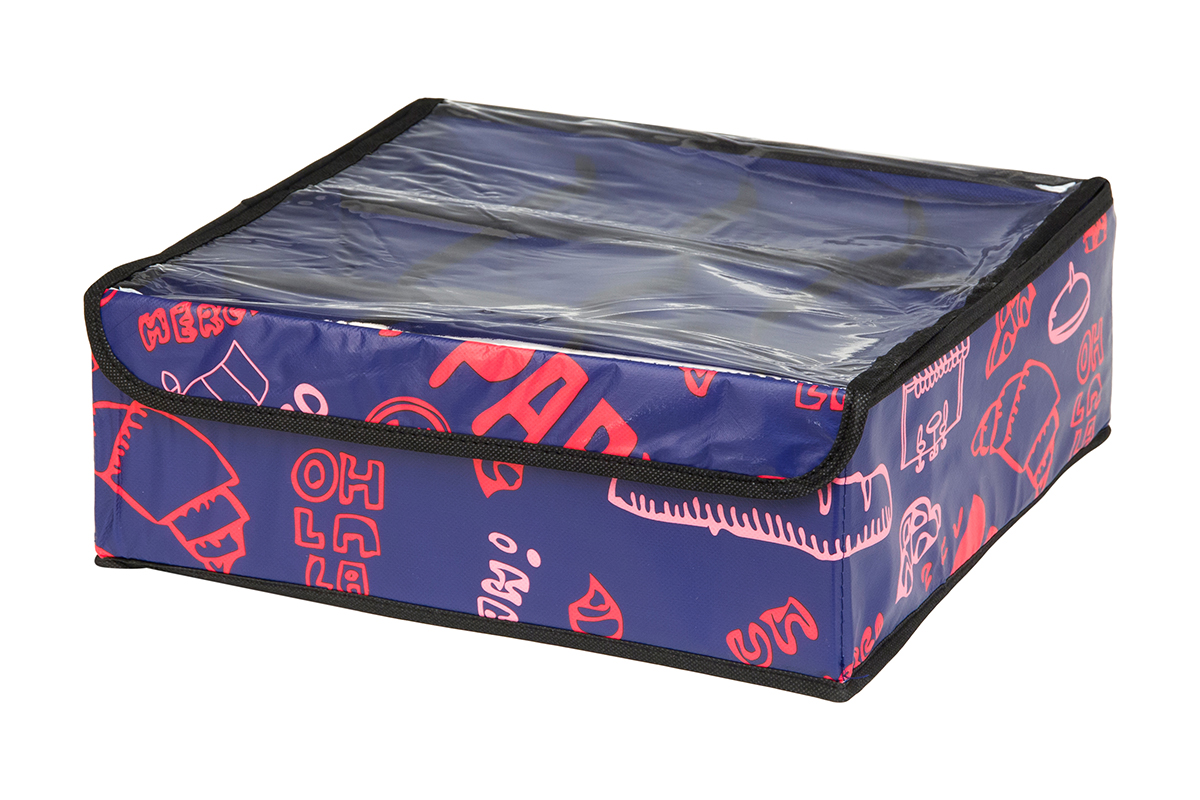 Кофр для хранения EL Casa Европа, 12 секций, 32 х 32 х 12 смRG-D31SКофр для хранения EL Casa Европа выполнен из качественного полиэстера, который обеспечивает естественную вентиляцию, отлично пропускает воздух, но не пропускает пыль. Вставки из плотного картона хорошо держат форму. Изделие декорировано красочным рисунком и имеет оригинальный дизайн. Кофр с 12 секциями подходит для хранения нижнего белья, колготок, носков и другой одежды. Прозрачная крышка на липучке, выполненная из ПВХ, позволяет видеть содержимое кофра, не открывая его. Изделие поможет хранить вещи компактно и удобно. Подходит для размещения в шкафу, комоде.