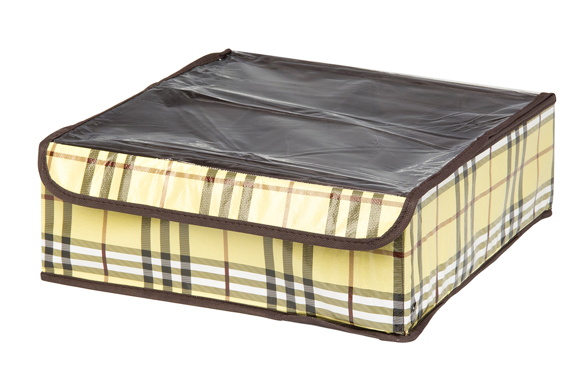 Кофр для хранения EL Casa Шотландка, 12 секций, 32 х 32 х 12 см25051 7_желтыйКофр для хранения EL Casa Шотландка выполнен из качественного полиэстера, который обеспечивает естественную вентиляцию, отлично пропускает воздух, но не пропускает пыль. Вставки из плотного картона хорошо держат форму. Изделие декорировано рисунком в клетку и имеет оригинальный дизайн. Кофр с 12 секциями подходит для хранения нижнего белья, колготок, носков и другой одежды. Прозрачная крышка на липучке, выполненная из ПВХ, позволяет видеть содержимое кофра, не открывая его. Изделие поможет хранить вещи компактно и удобно. Подходит для размещения в шкафу, комоде.