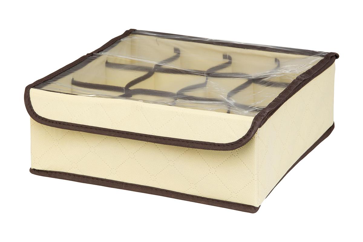 Кофр для хранения EL Casa Геометрия стиля, 12 секций, 32 х 32 х 12 смRG-D31SКофр для хранения EL Casa Геометрия стиля выполнен из качественного нетканого материала, который обеспечивает естественную вентиляцию, отлично пропускает воздух, но не пропускает пыль. Вставки из плотного картона хорошо держат форму. Изделие декорировано геометрическим узором и имеет оригинальный дизайн. Кофр с 12 секциями подходит для хранения нижнего белья, колготок, носков и другой одежды. Прозрачная крышка на липучке, выполненная из ПВХ, позволяет видеть содержимое кофра, не открывая его. Изделие поможет хранить вещи компактно и удобно. Подходит для размещения в шкафу, комоде.