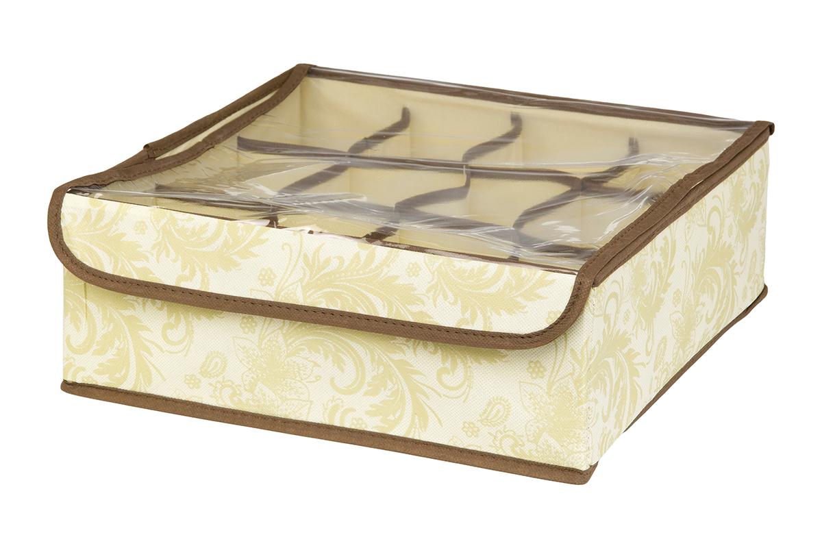 Кофр для хранения EL Casa Узор, 12 секций, 32 х 32 х 12 смS03301004Кофр для хранения EL Casa Узор выполнен из качественного нетканого материала, который обеспечивает естественную вентиляцию, отлично пропускает воздух, но не пропускает пыль. Вставки из плотного картона хорошо держат форму. Изделие декорировано изысканным цветочным узором и имеет оригинальный дизайн. Кофр с 12 секциями подходит для хранения нижнего белья, колготок, носков и другой одежды. Прозрачная крышка на липучке, выполненная из ПВХ, позволяет видеть содержимое кофра, не открывая его. Изделие поможет хранить вещи компактно и удобно. Подходит для размещения в шкафу, комоде.