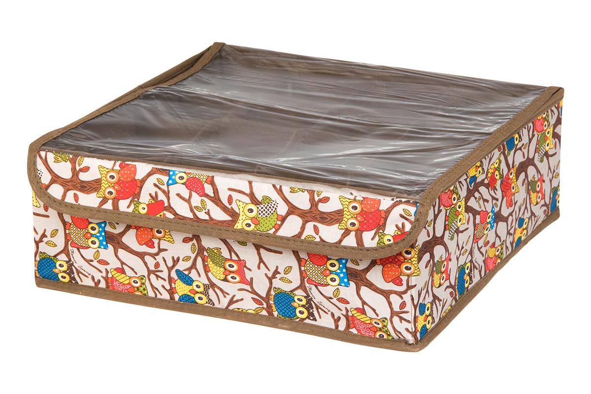 Кофр для хранения EL Casa Совы на ветках, цвет: серебристый, 16 секций, 32 х 32 х 12 см74-0060Кофр для хранения EL Casa Совы на ветках выполнен из полиэстера, который обеспечивает естественную вентиляцию, отлично пропускает воздух, но не пропускает пыль. Вставки из плотного картона хорошо держат форму. Кофр имеет оригинальный дизайн, он декорирован красочным изображением забавных сов. Кофр с 16 секциями подходит для хранения нижнего белья, колготок, носков и другой одежды. Прозрачная крышка на липучке, выполненная из ПВХ, позволяет видеть содержимое кофра, не открывая его. Такой органайзер поможет хранить вещи компактно и удобно. Подходит для размещения в шкафу, комоде.