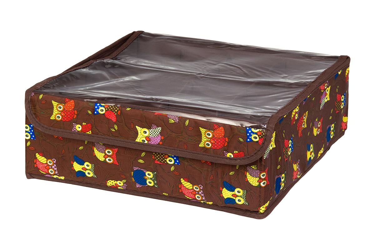 Кофр для хранения EL Casa Совы на ветках, цвет: коричневый, 16 секций, 32 х 32 х 12 см1004900000360Кофр для хранения EL Casa Совы на ветках выполнен из полиэстера, который обеспечивает естественную вентиляцию, отлично пропускает воздух, но не пропускает пыль. Вставки из плотного картона хорошо держат форму. Кофр имеет оригинальный дизайн, он декорирован красочным изображением забавных сов. Кофр с 16 секциями подходит для хранения нижнего белья, колготок, носков и другой одежды. Прозрачная крышка на липучке, выполненная из ПВХ, позволяет видеть содержимое кофра, не открывая его. Такой органайзер поможет хранить вещи компактно и удобно. Подходит для размещения в шкафу, комоде.