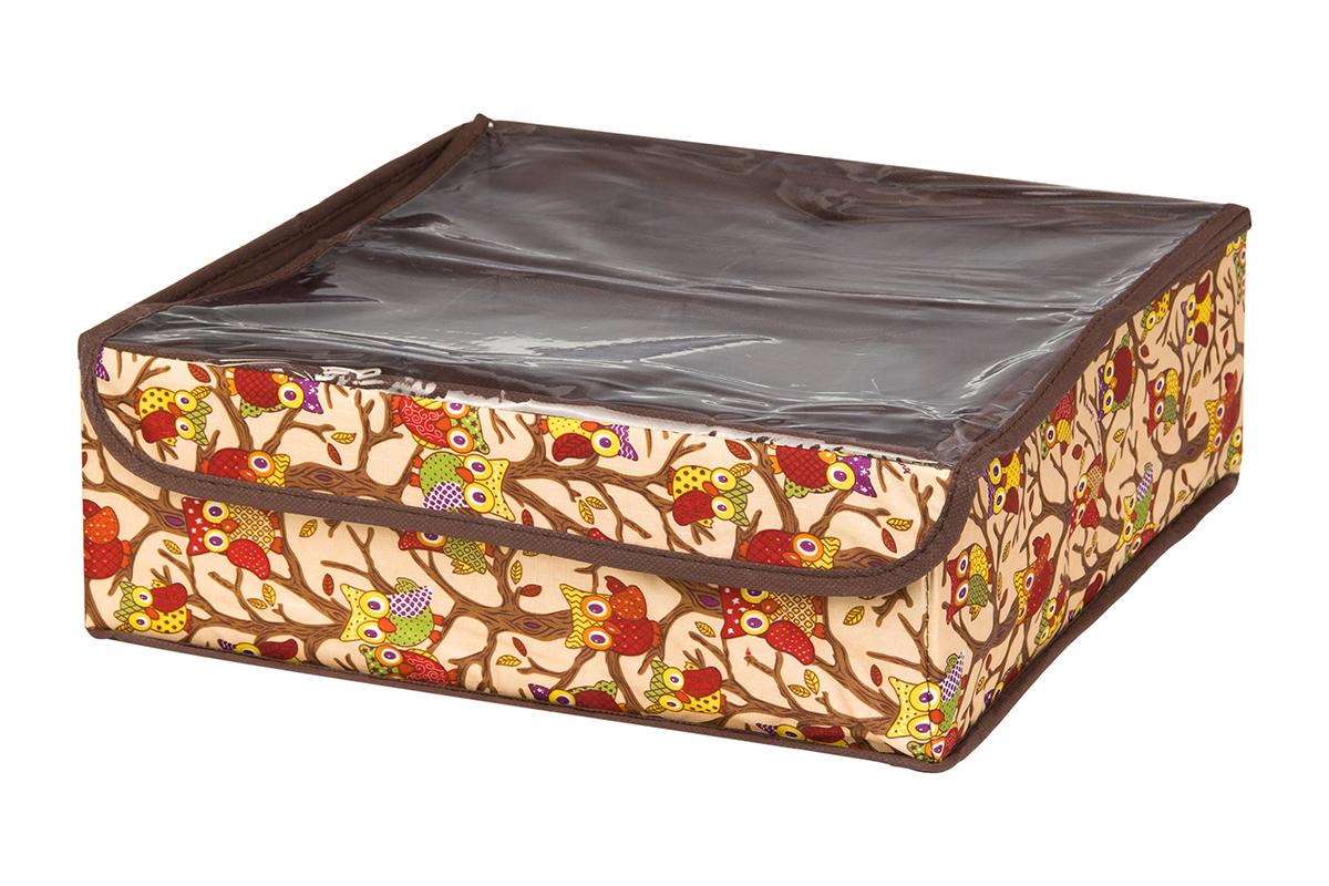 Кофр для хранения EL Casa Совы на ветках, цвет: бежевый, 16 секций, 32 х 32 х 12 смS03301004Кофр для хранения EL Casa Совы на ветках выполнен из полиэстера, который обеспечивает естественную вентиляцию, отлично пропускает воздух, но не пропускает пыль. Вставки из плотного картона хорошо держат форму. Кофр имеет оригинальный дизайн, он декорирован красочным изображением забавных сов. Кофр с 16 секциями подходит для хранения нижнего белья, колготок, носков и другой одежды. Прозрачная крышка на липучке, выполненная из ПВХ, позволяет видеть содержимое кофра, не открывая его. Такой органайзер поможет хранить вещи компактно и удобно. Подходит для размещения в шкафу, комоде.