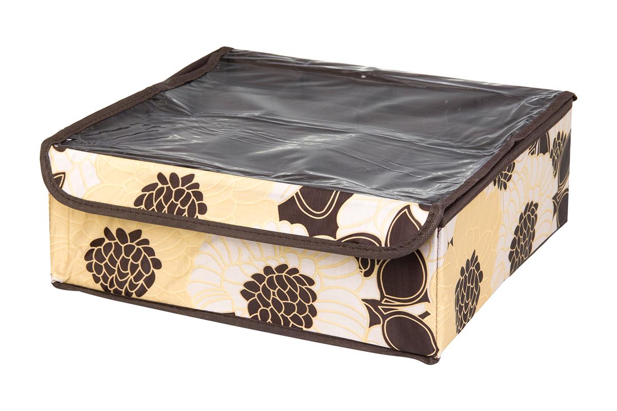 Кофр для хранения EL Casa Цветочная фантазия, 16 секций, 32 х 32 х 12 см74-0120Кофр для хранения EL Casa Цветочная фантазия выполнен из качественного полиэстера, который обеспечивает естественную вентиляцию, отлично пропускает воздух, но не пропускает пыль. Вставки из плотного картона хорошо держат форму. Изделие декорировано красивым цветочным рисунком и имеет оригинальный дизайн. Кофр с 16 секциями подходит для хранения нижнего белья, колготок, носков и другой одежды. Прозрачная крышка на липучке, выполненная из ПВХ, позволяет видеть содержимое кофра, не открывая его. Изделие поможет хранить вещи компактно и удобно. Подходит для размещения в шкафу, комоде.