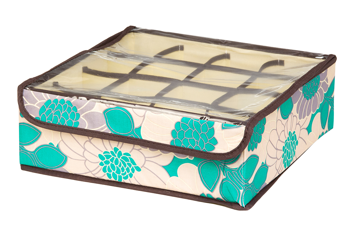 Кофр для хранения EL Casa Цветочное поле, 16 секций, 32 х 32 х 12 см1004900000360Кофр для хранения EL Casa Цветочное поле выполнен из качественного полиэстера, который обеспечивает естественную вентиляцию, отлично пропускает воздух, но не пропускает пыль. Вставки из плотного картона хорошо держат форму. Изделие декорировано красивым цветочным рисунком и имеет оригинальный дизайн. Кофр с 16 секциями подходит для хранения нижнего белья, колготок, носков и другой одежды. Прозрачная крышка на липучке, выполненная из ПВХ, позволяет видеть содержимое кофра, не открывая его. Изделие поможет хранить вещи компактно и удобно. Подходит для размещения в шкафу, комоде.