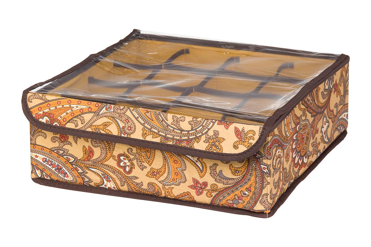 Кофр для хранения EL Casa Перо павлина, цвет: коричневый, 16 секций, 32 х 32 х 12 смZ-0307Кофр для хранения EL Casa Перо павлина выполнен из полиэстера, который обеспечивает естественную вентиляцию, отлично пропускает воздух, но не пропускает пыль. Вставки из плотного картона хорошо держат форму. Изделие декорировано красочным узором и имеет оригинальный дизайн. Кофр с 16 секциями подходит для хранения нижнего белья, колготок, носков и другой одежды. Прозрачная крышка на липучке, выполненная из ПВХ, позволяет видеть содержимое кофра, не открывая его. Изделие поможет хранить вещи компактно и удобно. Подходит для размещения в шкафу, комоде.