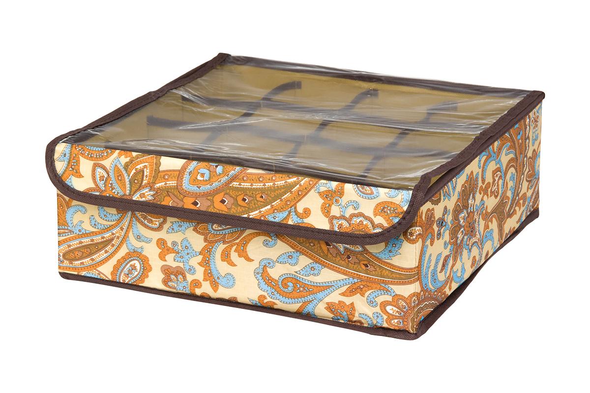 Кофр для хранения EL Casa Перо павлина, цвет: бежевый, 16 секций, 32 х 32 х 12 смRG-D31SКофр для хранения EL Casa Перо павлина выполнен из полиэстера, который обеспечивает естественную вентиляцию, отлично пропускает воздух, но не пропускает пыль. Вставки из плотного картона хорошо держат форму. Изделие декорировано красочным узором и имеет оригинальный дизайн. Кофр с 16 секциями подходит для хранения нижнего белья, колготок, носков и другой одежды. Прозрачная крышка на липучке, выполненная из ПВХ, позволяет видеть содержимое кофра, не открывая его. Изделие поможет хранить вещи компактно и удобно. Подходит для размещения в шкафу, комоде.