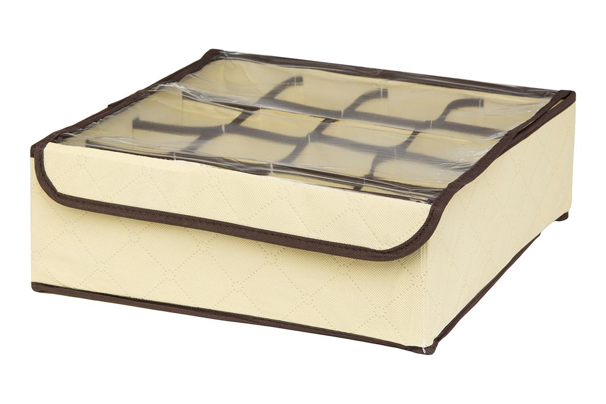Кофр для хранения EL Casa Геометрия стиля, 16 секций, 32 х 32 х 12 см370555Кофр для хранения EL Casa Геометрия стиля выполнен из качественного нетканого материала, который обеспечивает естественную вентиляцию, отлично пропускает воздух, но не пропускает пыль. Вставки из плотного картона хорошо держат форму. Изделие декорировано геометрическим узором и имеет оригинальный дизайн. Кофр с 16 секциями подходит для хранения нижнего белья, колготок, носков и другой одежды. Прозрачная крышка на липучке, выполненная из ПВХ, позволяет видеть содержимое кофра, не открывая его. Изделие поможет хранить вещи компактно и удобно. Подходит для размещения в шкафу, комоде.