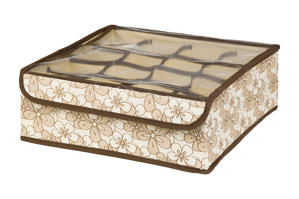 Кофр для хранения EL Casa Цветочное изобилие, 16 секций, 32 х 32 х 12 смU210DFКофр для хранения EL Casa Европа выполнен из качественного нетканого волокна, которое обеспечивает естественную вентиляцию, отлично пропускает воздух, но не пропускает пыль. Вставки из плотного картона хорошо держат форму. Изделие декорировано красочным рисунком и имеет оригинальный дизайн. Кофр с 16 секциями подходит для хранения нижнего белья, колготок, носков и другой одежды. Прозрачная крышка на липучке, выполненная из ПВХ, позволяет видеть содержимое кофра, не открывая его. Изделие поможет хранить вещи компактно и удобно. Подходит для размещения в шкафу, комоде.