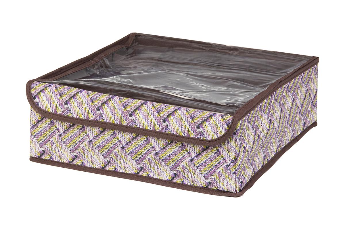 Кофр для хранения EL Casa Плетенка, 16 секций, 32 х 32 х 12 см41619Кофр для хранения EL Casa Плетенка выполнен из качественного нетканого волокна, которое обеспечивает естественную вентиляцию, отлично пропускает воздух, но не пропускает пыль. Вставки из плотного картона хорошо держат форму. Изделие декорировано красочным рисунком и имеет оригинальный дизайн. Кофр с 16 секциями подходит для хранения нижнего белья, колготок, носков и другой одежды. Прозрачная крышка на липучке, выполненная из ПВХ, позволяет видеть содержимое кофра, не открывая его. Изделие поможет хранить вещи компактно и удобно. Подходит для размещения в шкафу, комоде.