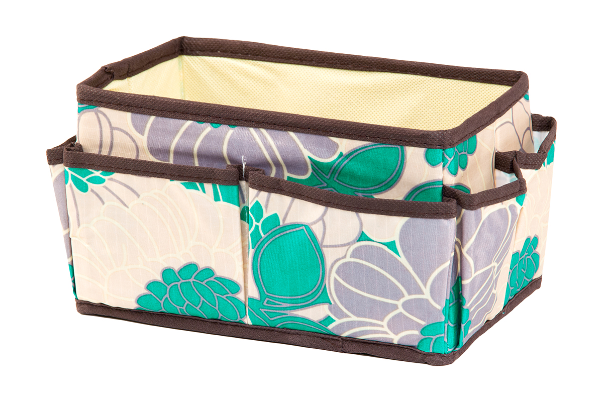 Органайзер для мелочей EL Casa Цветочное поле, 8 карманов, 20 х 12 х 12 смRG-D31SОрганайзер для мелочей EL Casa Цветочное поле выполнен из качественного полиэстера, декорированного красивым цветочным рисунком. Благодаря специальным вставкам из картона изделие прекрасно держит форму. Удобный и компактный органайзер с 8 карманами с легкостью вместит все необходимые баночки и тюбики. Большое основное отделение можно использовать для кремов, парфюмерии и лаков. Наличие различных кармашков делает возможным хранение декоративной косметики и аксессуаров.