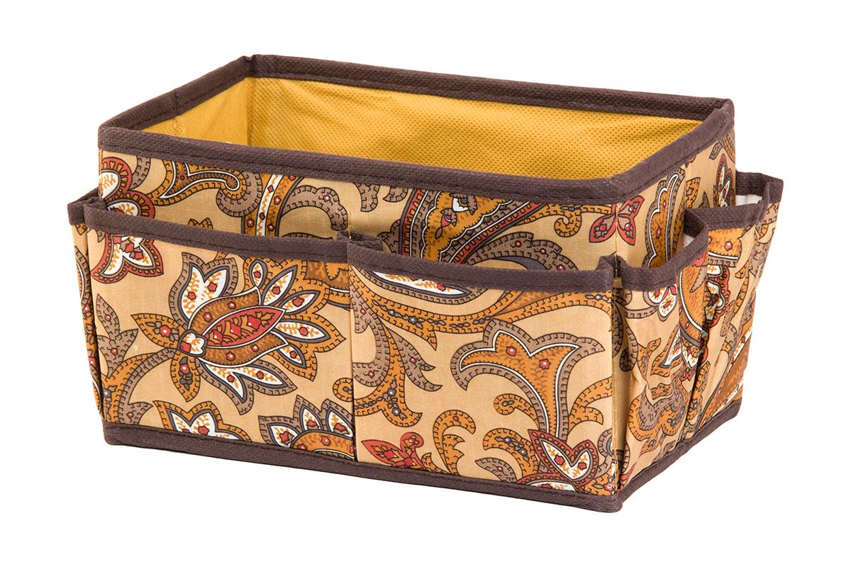 Органайзер для мелочей EL Casa Перо павлина, цвет: коричневый, 8 карманов, 20 х 12 х 12 см25051 7_желтыйОрганайзер для мелочей EL Casa Перо павлина выполнен из полиэстера, декорированного красивым орнаментом. Вставки из плотного картона хорошо держат форму. Удобный и компактный органайзер с 8 карманами с легкостью вместит все необходимые баночки и тюбики. Большое основное отделение можно использовать для кремов, парфюмерии и лаков. Наличие различных кармашков делает возможным хранение декоративной косметики и аксессуаров.