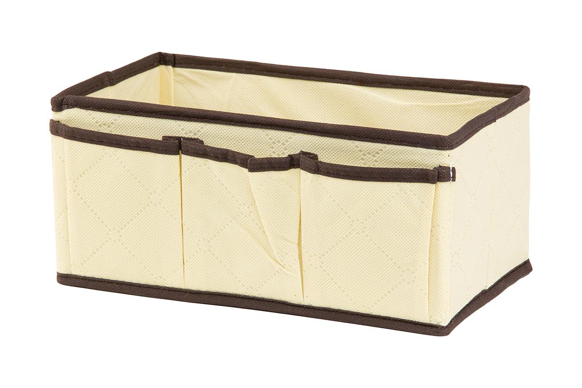 Органайзер для мелочей EL Casa Геометрия стиля, 3 кармана, 25 х 15 х 12 смRG-D31SОрганайзер для мелочей EL Casa Геометрия стиля выполнен из качественного нетканого волокна и декорирован красивым геометрическим узором. Благодаря специальным вставкам из картона, изделие прекрасно держит форму. Удобный и компактный органайзер с 3 карманами с легкостью вместит все необходимые баночки и тюбики. Большое основное отделение можно использовать для кремов, парфюмерии и лаков. Наличие кармашков делает возможным хранение декоративной косметики и аксессуаров.