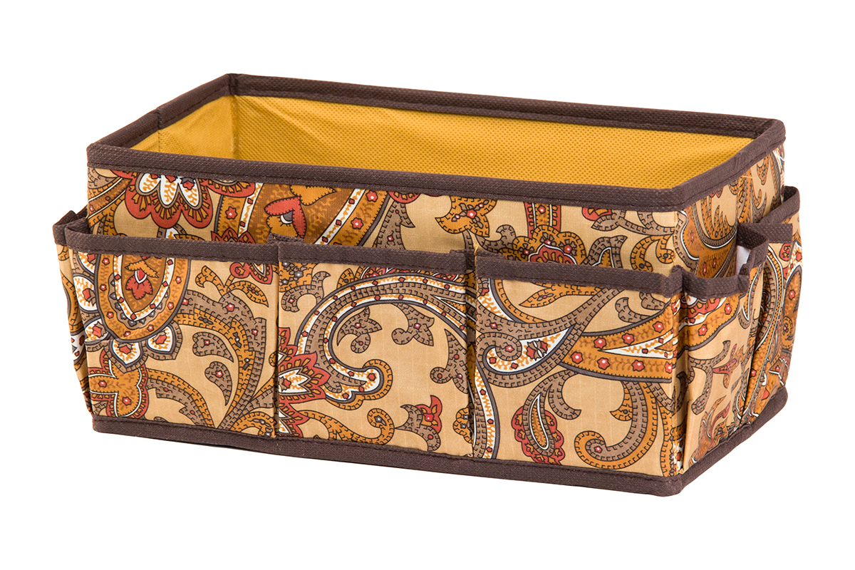 Органайзер для мелочей EL Casa Перо павлина, цвет: коричневый, 7 карманов, 25 х 15 х 12 смZ-0307Органайзер для мелочей EL Casa Перо павлина выполнен из полиэстера, декорированного красивым орнаментом. Вставки из плотного картона хорошо держат форму. Удобный и компактный органайзер с 7 карманами с легкостью вместит все необходимые баночки и тюбики. Большое основное отделение можно использовать для кремов, парфюмерии и лаков. Наличие различных кармашков делает возможным хранение декоративной косметики и аксессуаров.