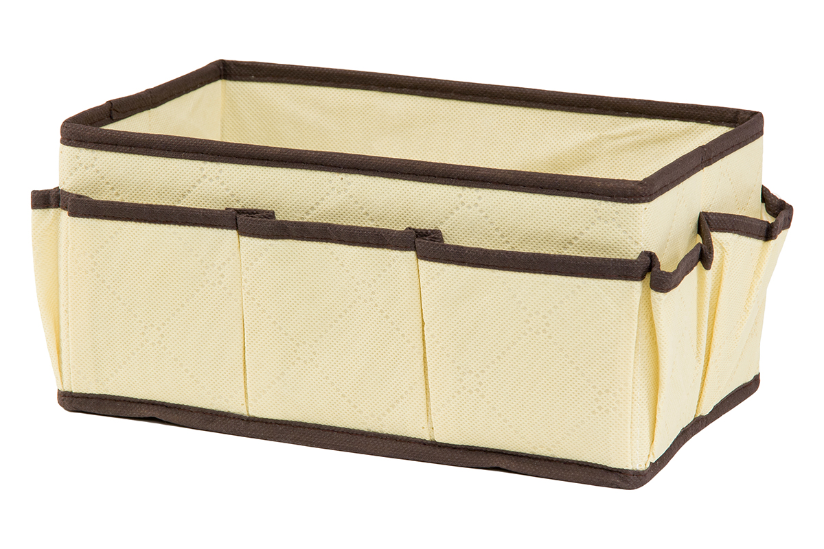 Органайзер для мелочей EL Casa Геометрия стиля, 7 карманов, 25 х 15 х 12 смPANTERA SPX-2RSОрганайзер для мелочей EL Casa Геометрия стиля выполнен из качественного нетканого материала, декорированного геометрическим узором. Благодаря специальным вставкам из картона изделие прекрасно держит форму. Удобный и компактный органайзер с 7 карманами с легкостью вместит все необходимые баночки и тюбики. Большое основное отделение можно использовать для кремов, парфюмерии и лаков. Наличие различных кармашков делает возможным хранение декоративной косметики и аксессуаров.