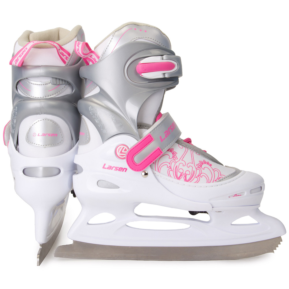 Коньки раздвижные ледовые Larsen Liberty, цвет: белый, серый, розовый. 272967. Размер 26/29