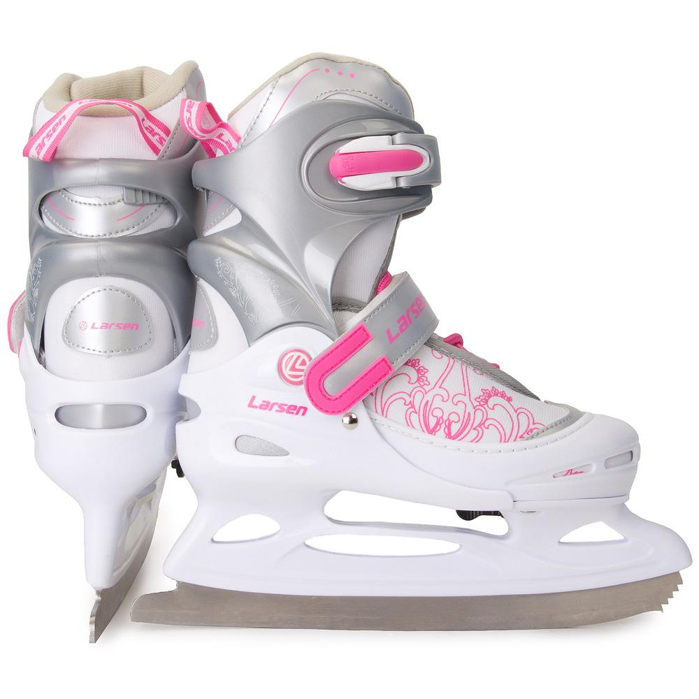 Коньки раздвижные ледовые Larsen Liberty, цвет: белый, серый, розовый. 272969. Размер 34/37CK Ladies Lux 2012-2013 White TricotКоньки раздвижные ледовые Larsen Liberty идеально подойдут для любительского катания. Ботинок выполнен из поливинилхлорида и полипропилена. Мягкий съемный внутренний ботинок обеспечивает комфорт во время движения. Специальные застежки-фиксаторы надежно удерживают модель на ноге. Лезвие из нержавеющей стали обеспечивает превосходное скольжение. Модель раздвижная, что позволяет регулировать размер. Температура использования: до -20°С.