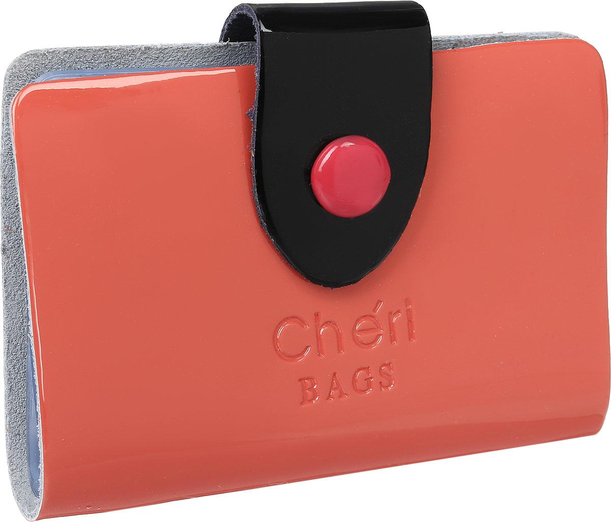 Визитница женская Cheribags, цвет: коралловый. V-0499-32B16-11416Визитница Cheribags выполнена из натуральной лаковой кожи и оформлена тисненой надписью с названием бренда. Изделие закрывается хлястиком на кнопку. Внутри расположено 26 файлов для визиток и карт.