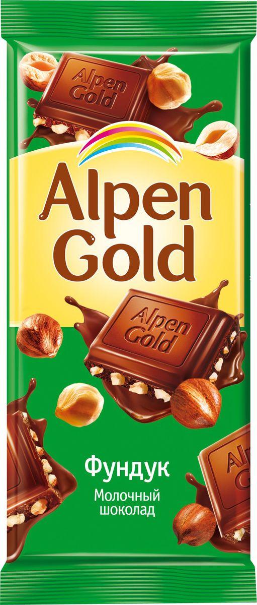 Alpen Gold шоколад молочный с дробленым фундуком, 90 г