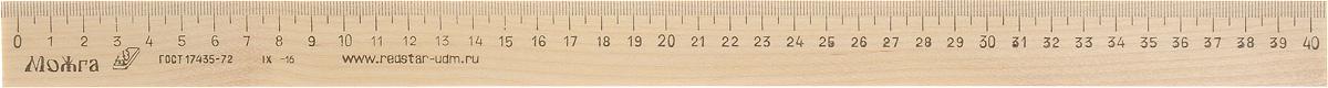 Красная звезда Линейка 40 см72523WDЛинейка Красная звезда изготовлена из твердолиственных пород древесины. Имеет износостойкую одностороннюю миллиметровую шкалу. Длина шкалы - 400 мм.