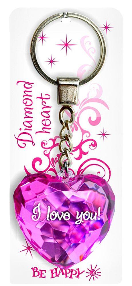 Брелок Be Happy Диамантовое сердце. I love you!SvS10-025Оригинальный брелок Be Happy Диамантовое сердце, изготовленный из высококачественного пластика, станет отличным подарком. Это не только приятный, но и практичный сувенир для каждодневного использования, ведь такое хрустальное сердце - не просто брелок, а модный аксессуар. Брелоком можно украсить сумочку, детскую коляску или повесить на ключи. Переливающиеся грани и блестящая поверхность создадут гламурный образ. Длина цепочки - 4 см. Диаметр кольца - 2 см.
