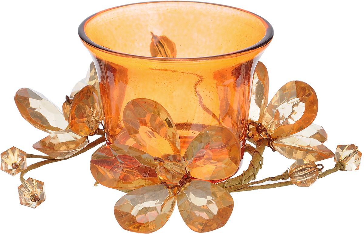Подсвечник Lovemark, цвет: оранжевый. 5A2017 Or41619Подсвечник Lovemark представляет собой стеклянную емкость для чайной свечи, оформленную изысканным декоративным элементом в виде плетеной веточки с цветами. Такой подсвечник элегантно оформит интерьер вашего дома. Мерцание свечи создаст атмосферу романтики и уюта. Диаметр емкости (по верхнему краю): 6,5 см. Высота емкости: 5 см.