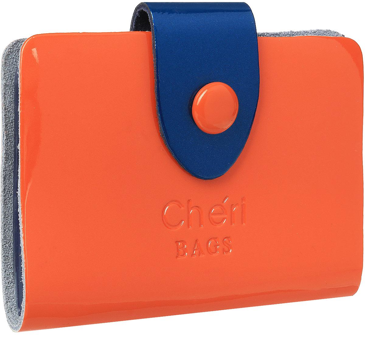 Визитница женская Cheribags, цвет: оранжевый. V-0499-2223/0330/181Визитница Cheribags выполнена из натуральной кожи зернистой текстуры и оформлена тисненой надписью с названием бренда. Внутри расположен блок с 26 файлами для визитных и дисконтных карт. Изделие застегивается хлястиком на кнопку.