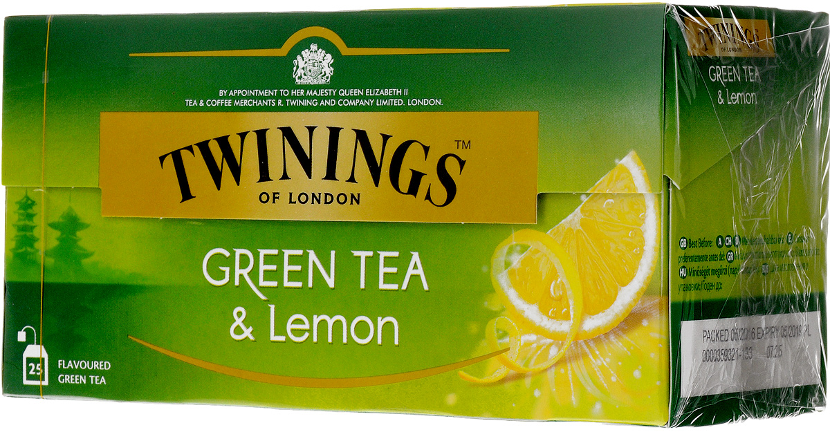 Twinings Green Tea & Lemon зелёный чай с цедрой лимона в пакетиках, 25 шт 2016new freeze dried lemon rich in vitamins beauty fruit lemon tea raisecolour prevent osteoporosis fresh lemon slice herbal tea