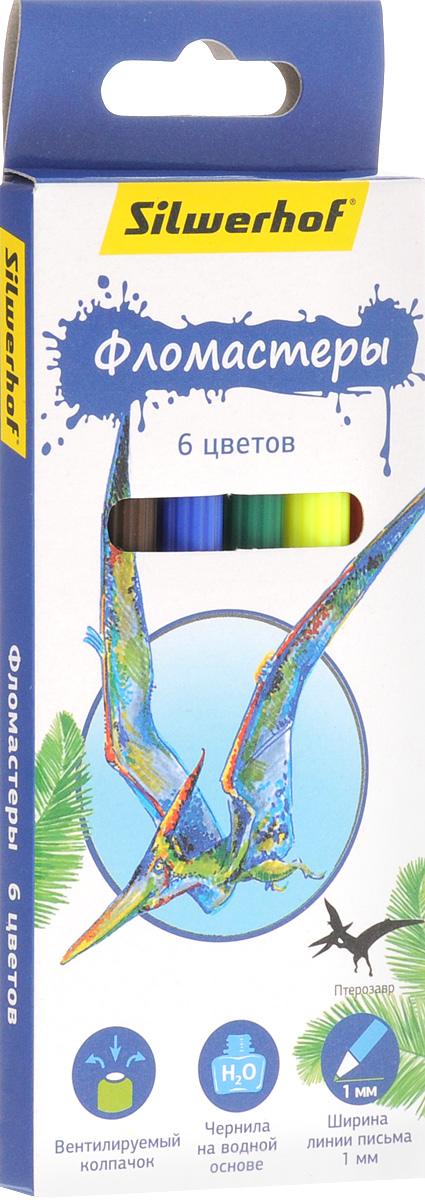 Silwerhof Фломастеры Динозавры 6 цветов2010440Фломастеры Silwerhof Динозавры - это 6 ярких насыщенных цветов в разноцветных пластиковых корпусах (цвет корпуса соответствует цвету чернил). Каждый фломастер оснащен плотным вентилируемым колпачком, защищающим чернила от испарения.Чернила изготовлены на водной основе. Легко отстирываются и смываются с рук.Фломастеры Silwerhof - идеальный инструмент для самовыражения и развития маленького художника!