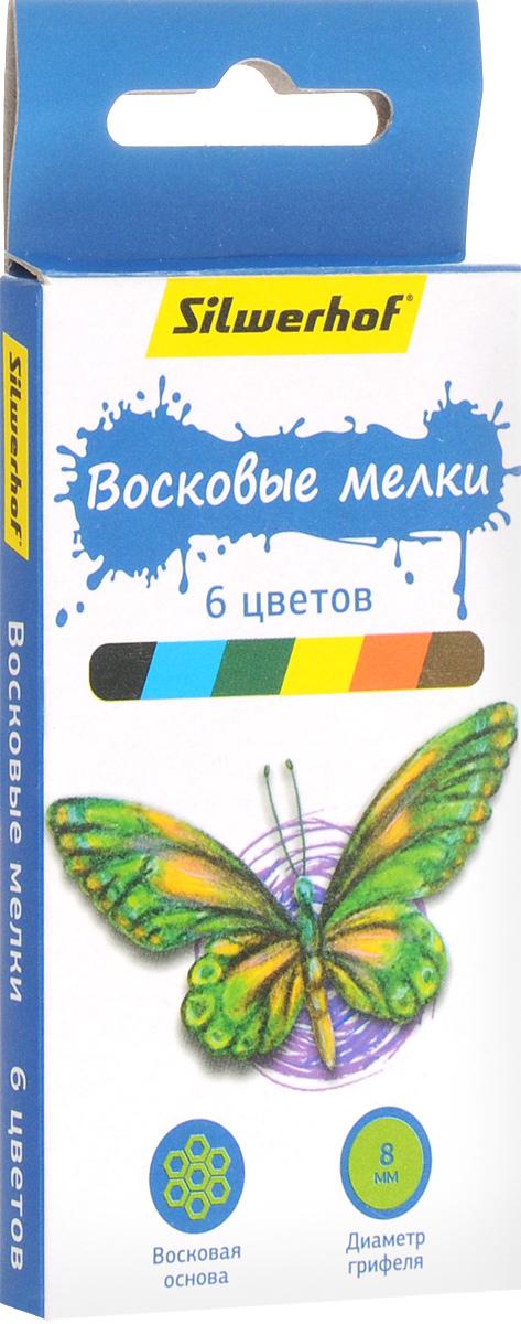Silwerhof Восковые мелки Бабочки 6 цветовAC-2233_серыйНабор Silwerhof Бабочки содержит мелки 6 ярких насыщенных цветов. Каждый мелок обернут в бумажную гильзу. Мелки обеспечивают удивительно мягкое письмо, позволяющее легко закрашивать большие площади. Мелки предназначены для рисования по бумаге, картону, стеклу, керамике, пластику. Не токсичны и абсолютно безопасны. Восковые мелки Silwerhof откроют юным художникам новые горизонты для творчества, а также помогут отлично развить мелкую моторику рук, цветовое восприятие, фантазию и воображение, способствуют самовыражению.