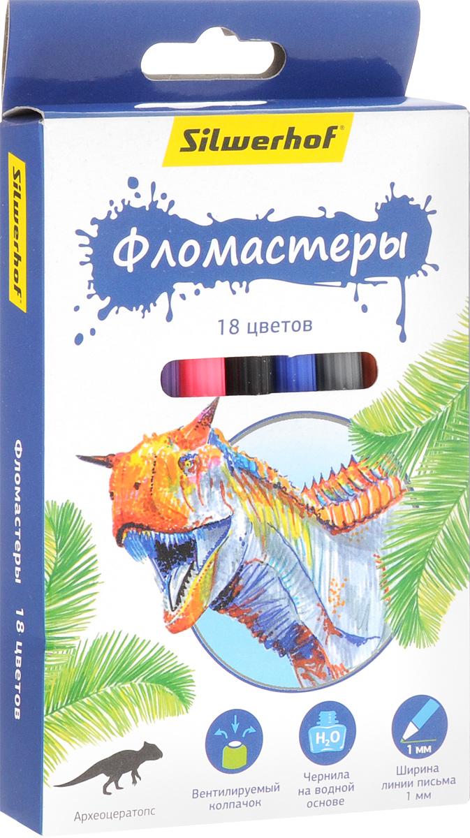 Silwerhof Фломастеры Динозавры 18 цветов730396Набор Silwerhof Динозавры содержит фломастеры 18 ярких насыщенных цветов. Корпус фломастеров изготовлен из полипропилена. Безопасные чернила на водной основе легко отстирываются и смываются. Маленький диаметр удобен для детских пальчиков. Фломастеры оснащены вентилируемыми колпачками. Ширина линии письма: 1 мм. Фломастеры Silwerhof откроют юным художникам новые горизонты для творчества, а также помогут отлично развить мелкую моторику рук, цветовое восприятие, фантазию и воображение, способствуют самовыражению.