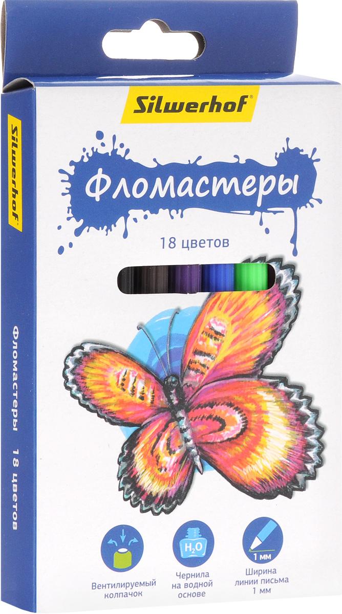 Silwerhof Фломастеры Бабочки 18 цветов554324Набор Silwerhof Бабочки - это 18 фломастеров ярких насыщенных цветов в разноцветных пластиковых корпусах (цвет корпуса соответствует цвету чернил). Каждый фломастер оснащен плотным вентилируемым колпачком, защищающим чернила от испарения.Чернила изготовлены на водной основе. Легко отстирываются и смываются с рук.Фломастеры Silwerhof - идеальный инструмент для самовыражения и развития маленького художника!