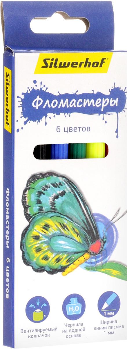 Silwerhof Фломастеры Бабочки 6 цветов72523WDНабор Silwerhof Бабочки содержит фломастеры 6 ярких насыщенных цветов. Корпус фломастеров изготовлен из полипропилена. Безопасные чернила на водной основе легко отстирываются и смываются. Маленький диаметр удобен для детских пальчиков. Фломастеры оснащены вентилируемыми колпачками. Ширина линии письма: 1 мм. Фломастеры Silwerhof откроют юным художникам новые горизонты для творчества, а также помогут отлично развить мелкую моторику рук, цветовое восприятие, фантазию и воображение, способствуют самовыражению.
